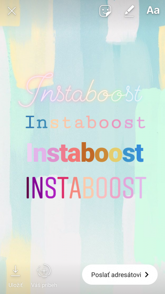 instagram stories farebne pismo